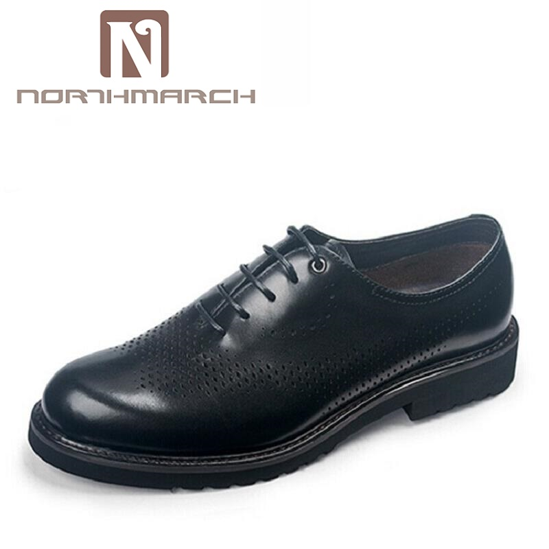 NORTHMARCH Italian Black Brown Plus Size Dress Shoes Genuine Leather Lace Up Man Formal Shoes Breathable Hollow Out Footwear endearing plus size mandarin collar lace spliced hollow out dress for women