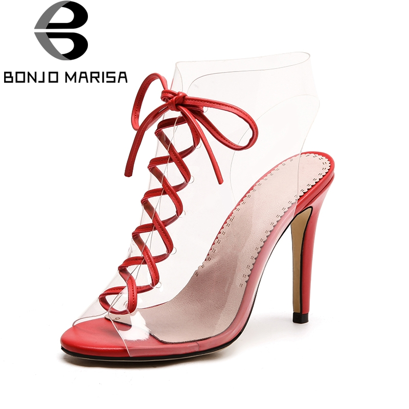 BONJOMARISA New Big Size 33-43 Brand Design Lace Up Gladiator Summer Sandals Woman Shoes Sexy High Heels Party Shoes Women 2016 new fashion sexy shoes fretwork lace up spike high heels large size shoes woman sandals sapatos gladiator shoe melissa