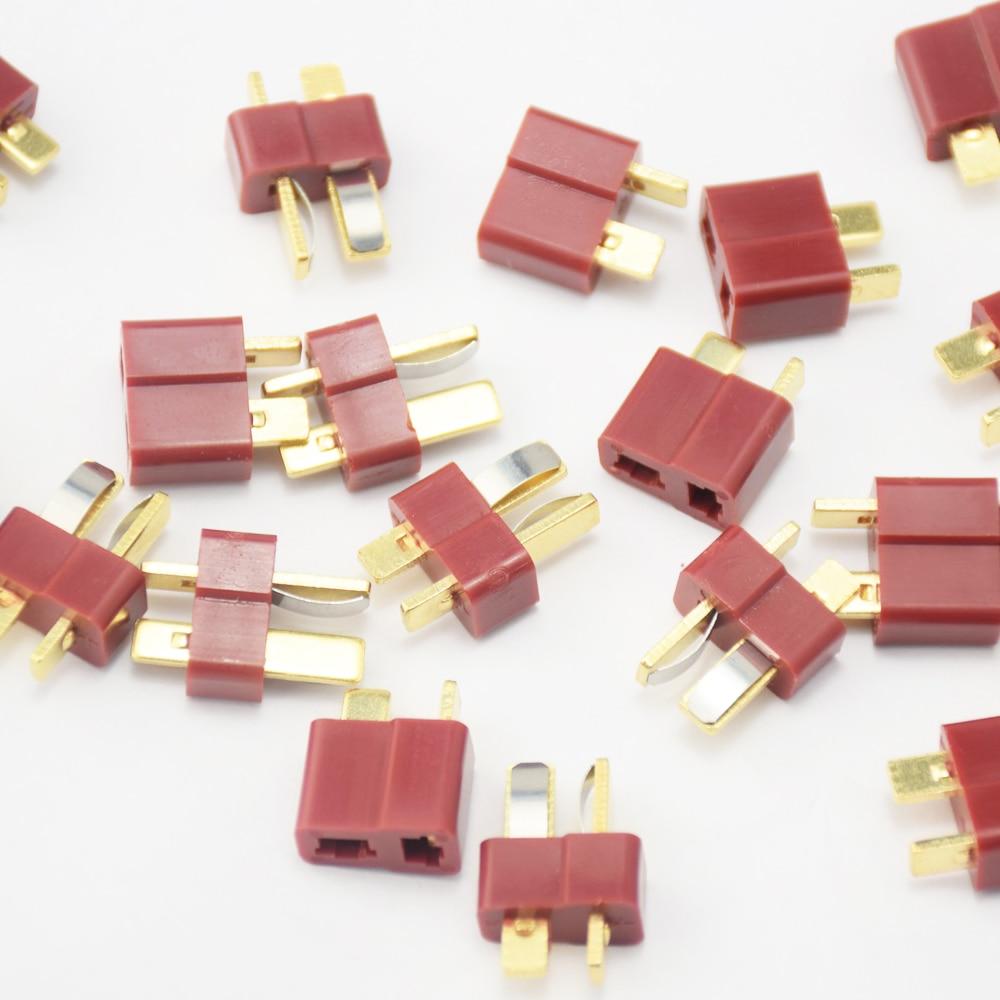 20pcs T- Plug Male & Female Connectors Deans Style For RC LiPo Battery ESC hot new deans style xt plug nylon t connector golden grip slip t plug anti skid for rc esc battery