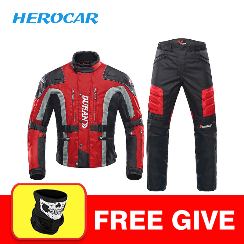 DUHAN Autumn Winter Cold proof Motorcycle Jacket Moto Protector Motorcycle Pants Moto Suit Touring Clothing Protective
