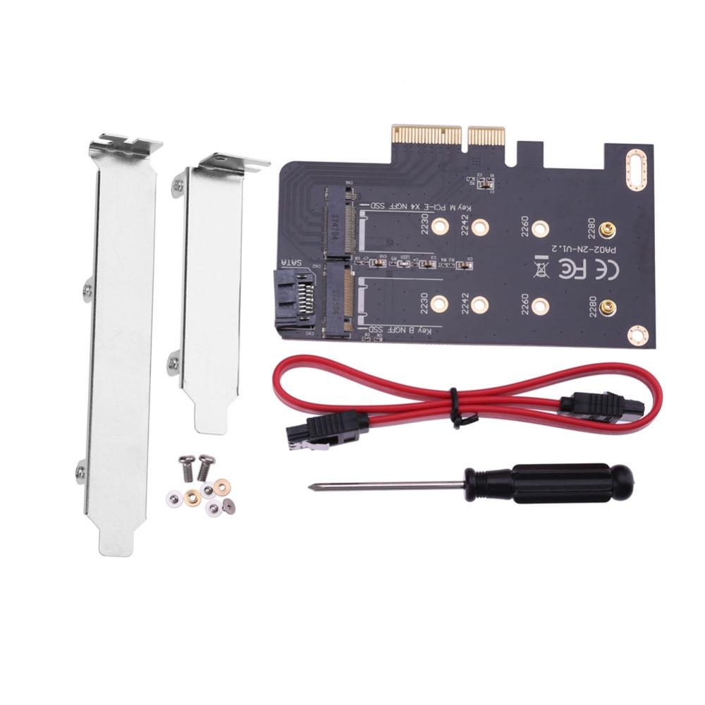 Tarjeta adaptadora de 2 ranuras de M clave M.2 SSD NGFF a PCI-E X4 Adaptador y clave B M.2 SSD NGFF a tarjetas adaptadoras SATA + cable SATA de 7 pines