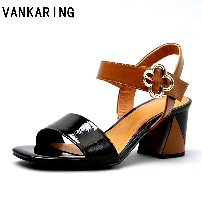 VANKARING women sandals summer high qulaity square heel shoes brand open toe woman sandals ladies dress office ankle strapVANKARING women sandals summer high qulaity square heel shoes brand open toe woman sandals ladies dress office ankle strap