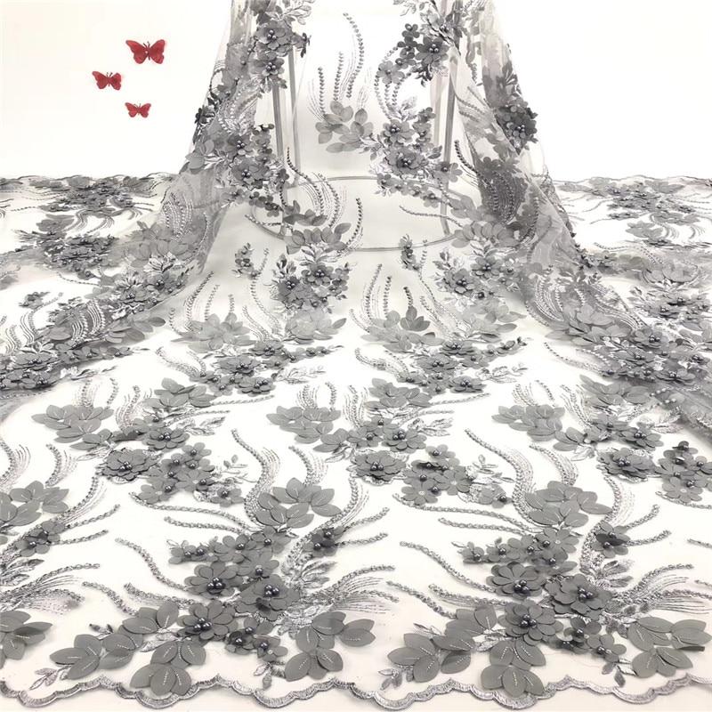 Tela de encaje africano de 2019 de alta calidad de encaje francés 3D parche de flores de encaje apliques de tela de encaje con cuentas para boda-in encaje from Hogar y Mascotas    2