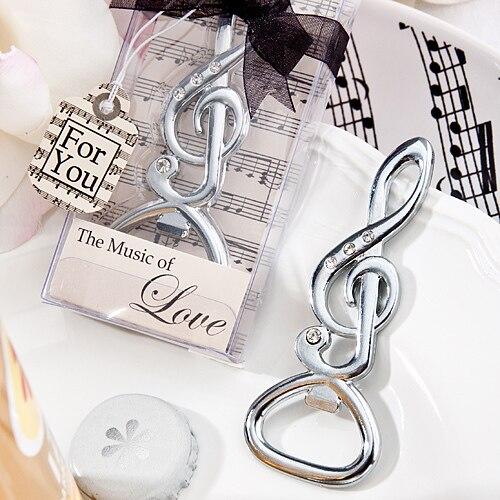 Бесплатная доставка компанией DHL, FedEx, UPS (50 шт./лот) + Романтический свадебной серебро музыкальная нота открывалка для бутылок партия поддавк...