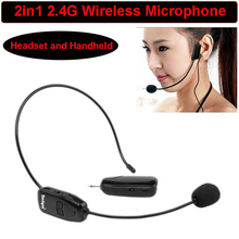 Free Shipping!The Latest 2 in 1 Handheld Portable 2.4G Mini Wireless Microphone Headset MIC Headphone With 3.5mm Plug Receiver