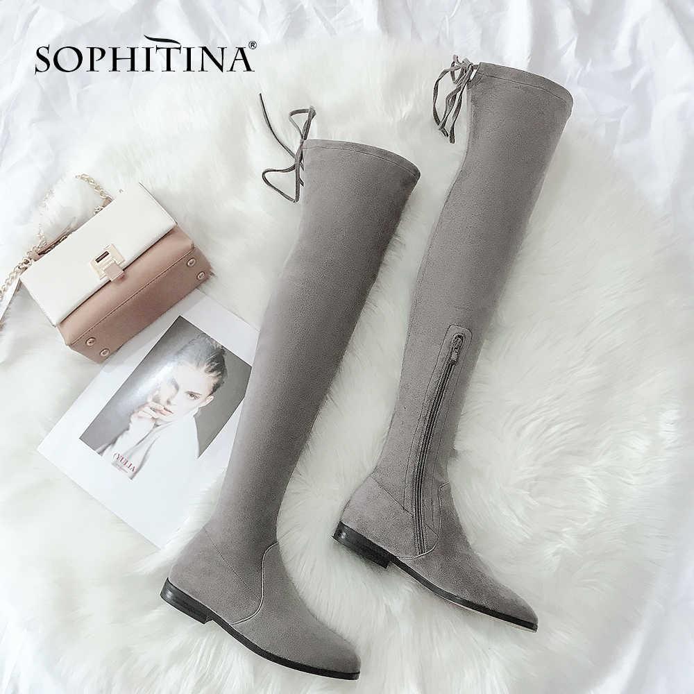 SOPHITINA Şık Over-the-diz Bayanlar Çizmeler Rahat Yuvarlak Ayak Düşük Topuk Ayakkabı Kış Katı Slip-On kare Topuk Kadın Çizmeler SO204