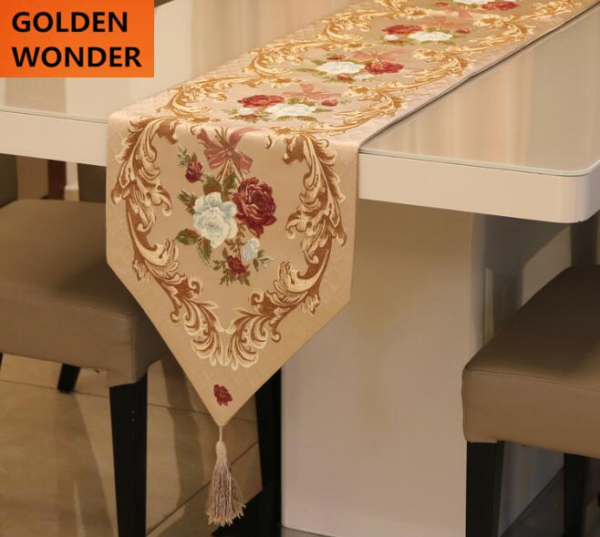 High Quality European Style Embroidery Luxury Table Runner Runners Home Textile Decoration