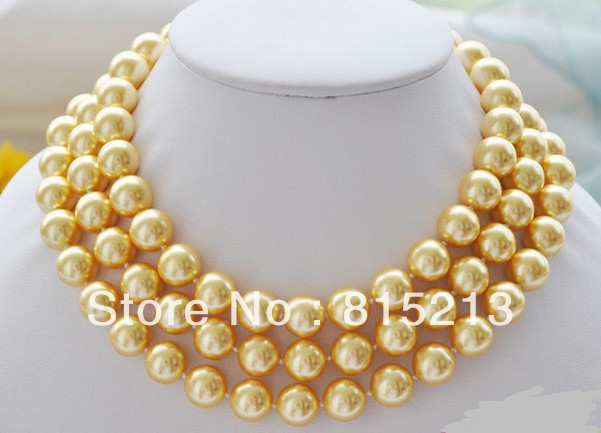 FREE SHIPPING N334 50 12mm Golden Round SOUTH SEA SHELL PEARL NECKLACE