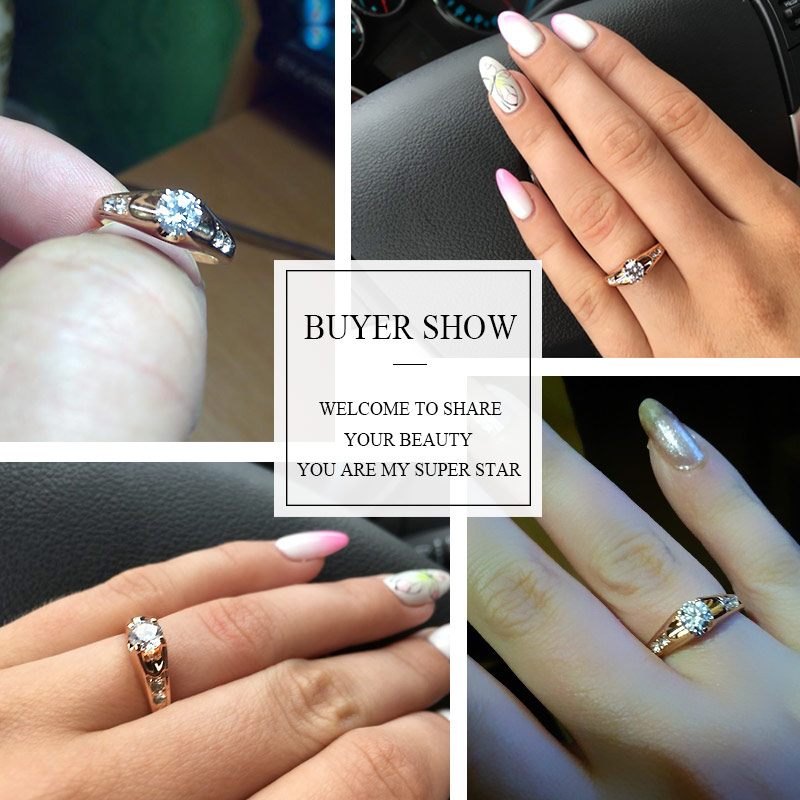 Women's Elegant Ring with White Zirconia Jewelry Rings Women Jewelry