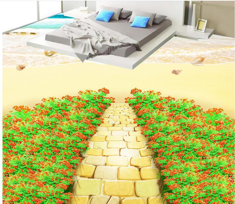 Floor wallpaper 3d for bathrooms beach Photo wallpaper mural floor Custom Photo self-adhesive 3D floor beibehang custom photo floor painted