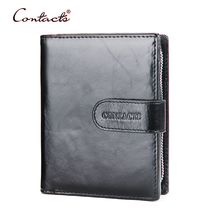 CONTACT'S Men Wallet Oil Wax Leather Genuin Leather Male Purse Card Holder Wallets Coin Pocket Photo Purses Clutch 2017 Brand