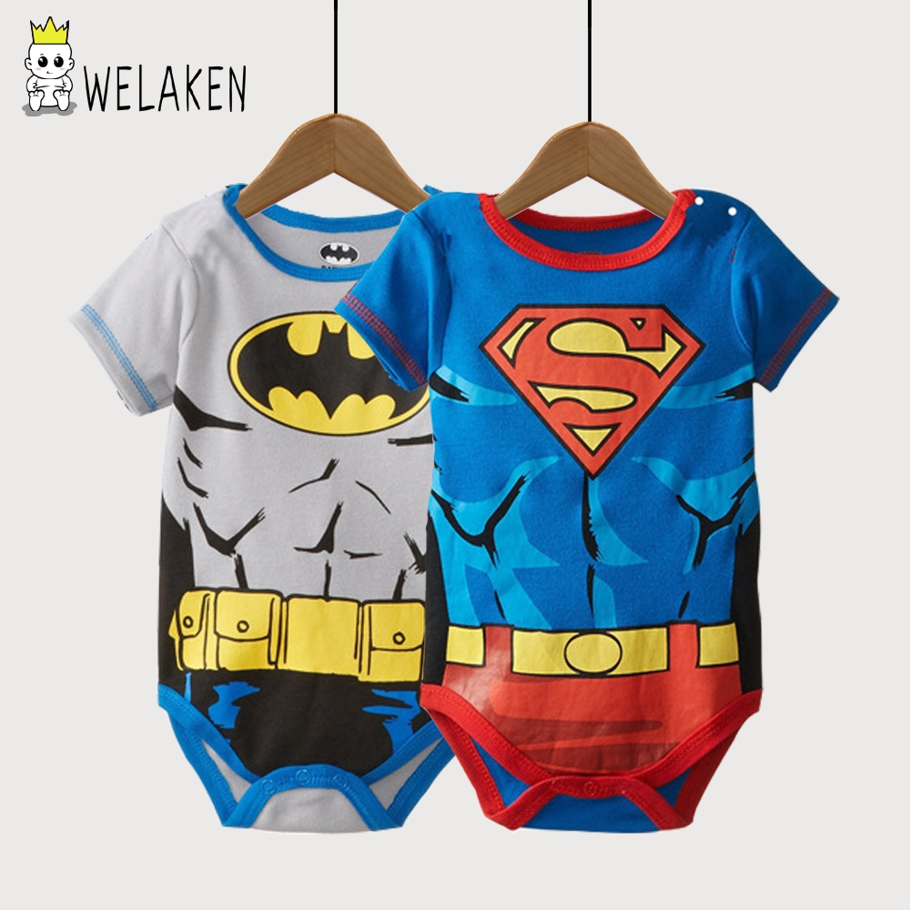 weLaken Infant Short Sleeve Super Man Cartoon Romper Boys Girls Cute Clothes Newborn Baby Costume Jumpsuits Baby Rompers 2017 lovely newborn baby rompers infant bebes boys girls short sleeve printed baby clothes hooded jumpsuit costume outfit 0 18m