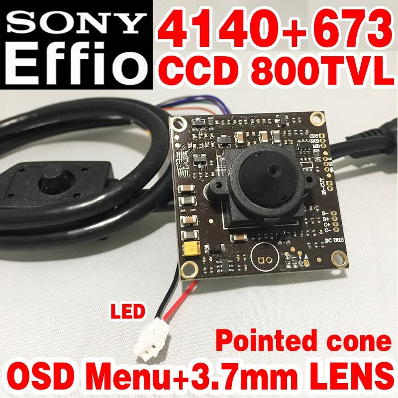 Sony чип 3,7 мм острым конический аналоговый hd Mini монитор модуль камеры 1/3 CCD Effio 4140 + 673 800tvl OSD meun видеонаблюдения