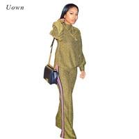 Tracksuit Women Two Piece Set Autumn Winter New Fashion Gold Glitter Turtleneck Sweatshirt And Wide Leg