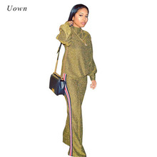 Tracksuit Women Two Piece Set Autumn Winter New Fashion Gold Glitter Turtleneck Sweatshirt and Wide Leg Pants Suits Sweat