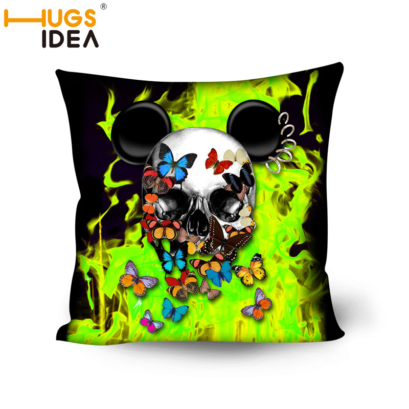 HUGSIDEA Pillowcase Retro Skull Cushion Cover Square Cotton Butterfly 3D print Throw Pillows Decorative Cojines Home De Coussin