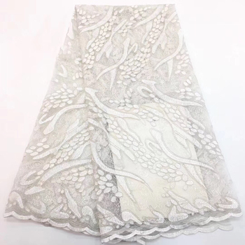 2019 High Quality White color African net lace French tulle lace bridal wedding Russia lace fabric with stones CD35