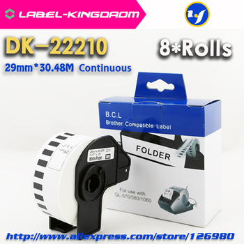 8 Rolls Generic DK-22210 Label 29mm*30.48M Continuous Compatible  Brother Printer QL-570/700 All Come With Plastic Holder