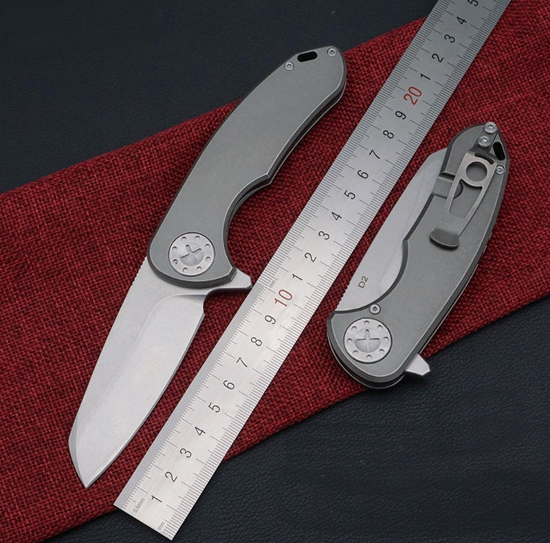 TRSKT F3 ,C81,Camping Knives Hunting Flipper Knife D2 Steel Satin Blade ,TC4 Handle 60Hrc, Rescue Survival ,Thickness 0.35 CM