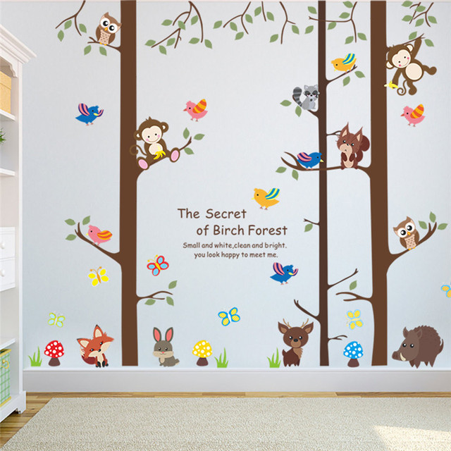 acheter for t branche d 39 arbre feuille animal de bande dessin e singe ours cerfs. Black Bedroom Furniture Sets. Home Design Ideas