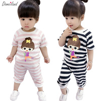 2018 Spring Brand Domeiland Children S Clothing Sets Outfits Sets Kids Girl Cotton Striped Cute Cartoon