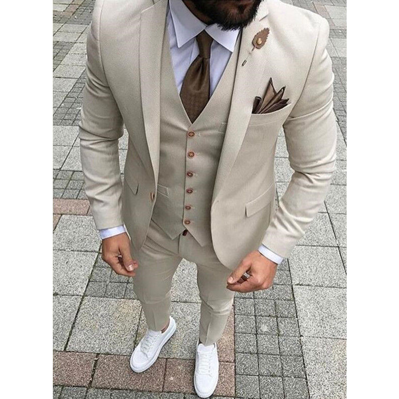2018 New Brand Khaki Men Suit for Wedding Suits for Men Prom Slim Fit Tuxedo 3 Piece Groom Wear Handsome Blazer Terno Masculino in Suits from Men 39 s Clothing