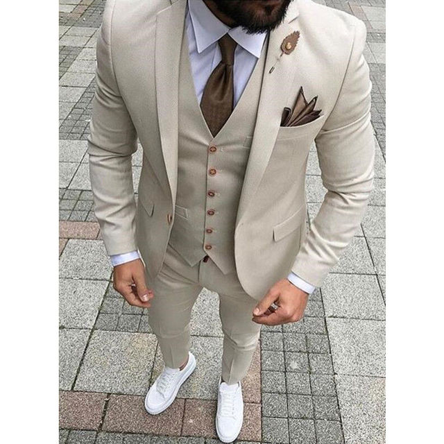 a29090f3bc 2018 New Brand Khaki Men Suit for Wedding Suits for Men Prom Slim Fit Tuxedo  3 Piece Groom Wear Handsome Blazer Terno Masculino
