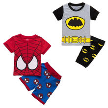 NEW Kids Infant Baby Boys Spiderman Batman Cartoon Short Sleeve Tops T-shirt Pants Outfits Clothes 2-8Y