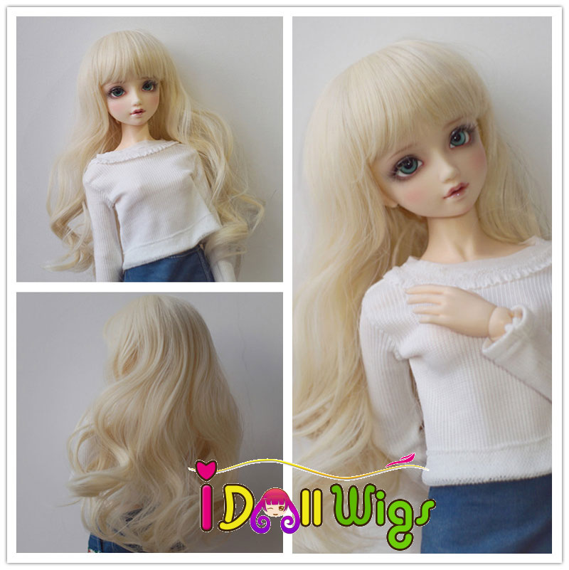 1/3 1/4 1/6 Bjd SD Doll Blonde Wig with Bangs High Temperature Fiber Long Lovely Wavy BJD Super Dollfiles Hair Wig On Sale newest 1 3 1 4 1 6 bjd sd doll wig wire light blonde colors high temperature bjd super dollfile for doll hair wig