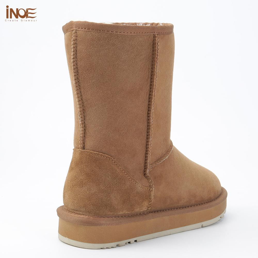 Image 4 - INOE Basic Winter Snow Boots for Women Sheepskin Suede Leather 