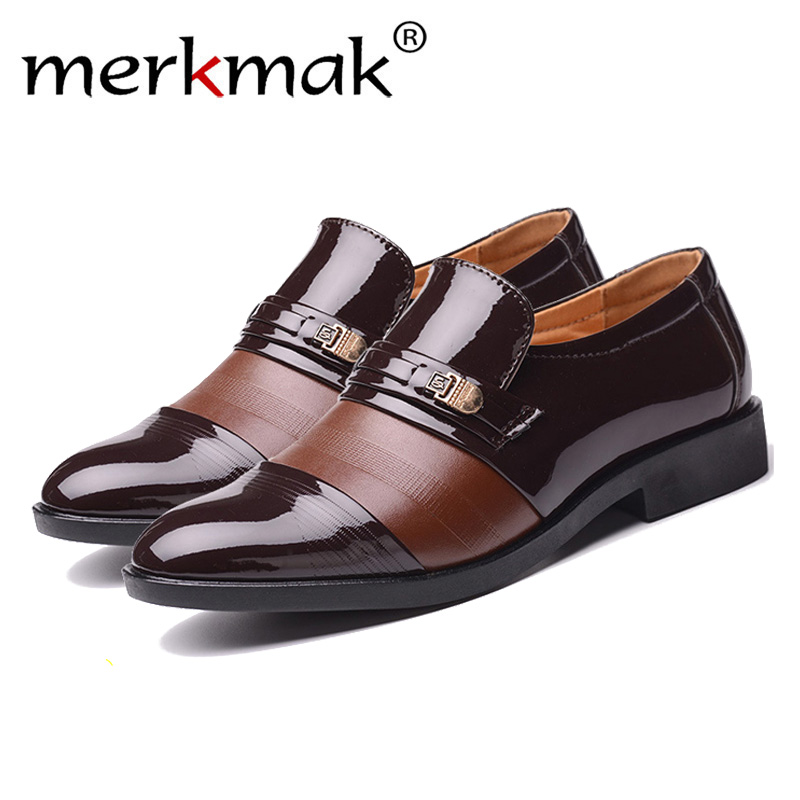 Merkmak Men Formal Shoes Winter Men Dress Shoes Brand Men Leather Shoes Men Classic Business Gentleman Plush Plus Big Size 38-48