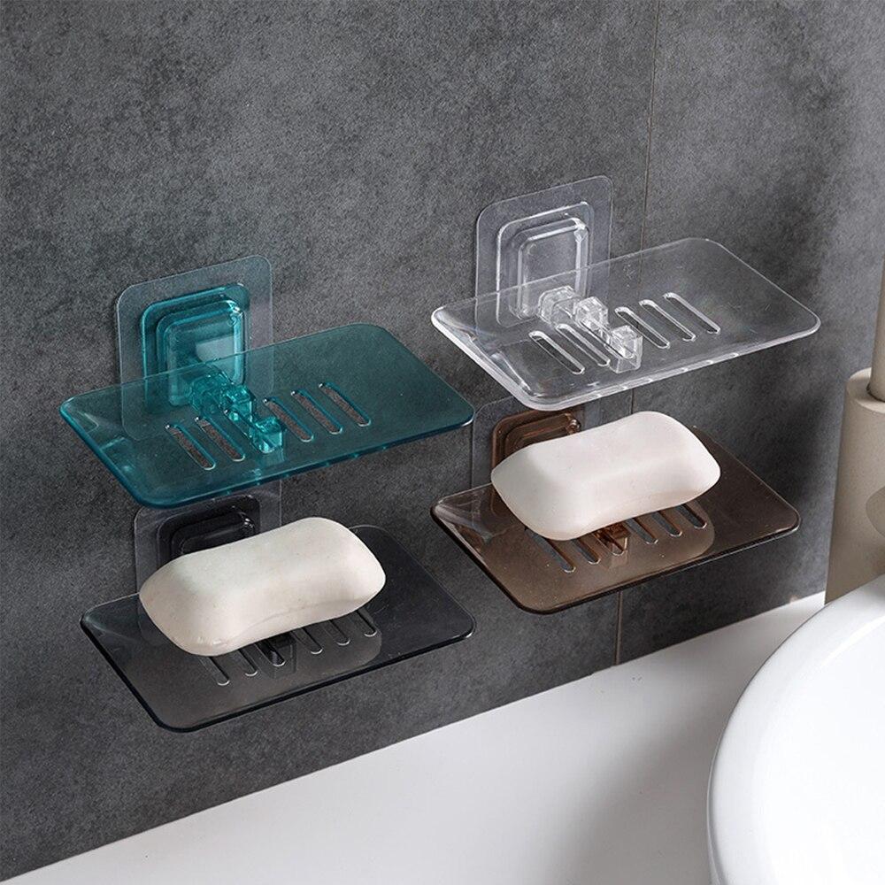 Soap Dish Case Suction Cup Soap Box Dish Storage Plate Storage Rack Bathroom Tray Accessories Drain Soap Box Plastic Holder