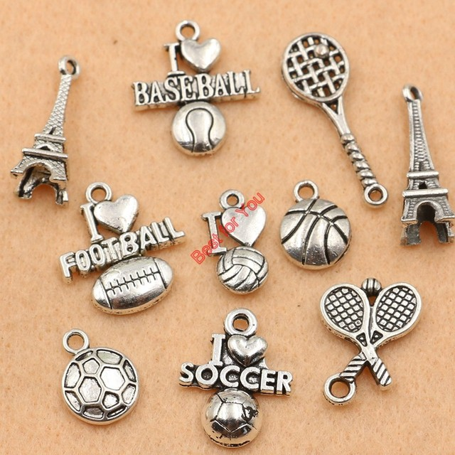 Mixed tibetan silver plated love football soccer baseball tower mixed tibetan silver plated love football soccer baseball tower charms pendants jewelry making diy charm handmade mozeypictures Image collections