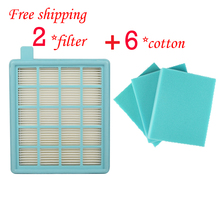 2*Filter HEPA+6*cotton for Philips PowerPro Compact/Active FC8058 FC9320 FC9329 fc8630   fc8639 fc8640   fc8649