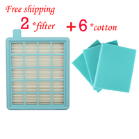 2 Filter HEPA 6 Cotton For Philips PowerPro Compact Active FC8058 FC9320 FC9329 Fc8630 Fc8639 Fc8640