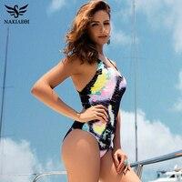 NAKIAEOI Sexy One Piece Swimsuit Women 2017 Summer Swimwear World Map Bandage Bodysuit Monokini Beach Bathing