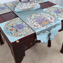 Luxury Jade Dragon Thicken Table Runner High End Chinese Style Coffee Table  Cloth High Density Silk
