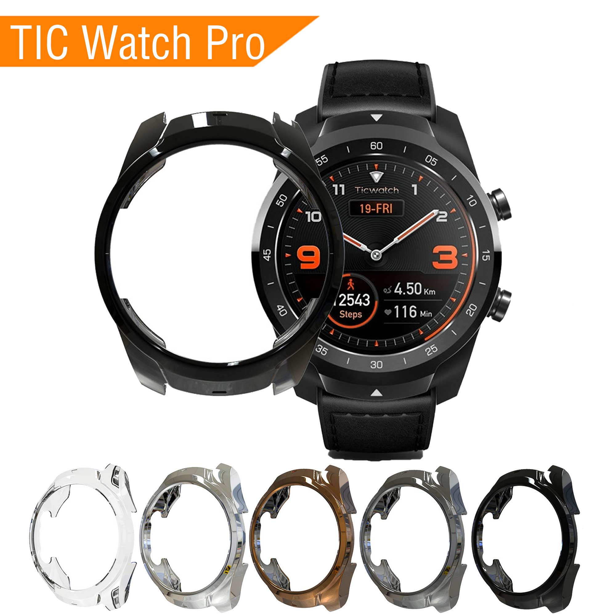 Case Screen-Protector Watch Tic Smart-Watch-Accessories Sport TPU for Soft