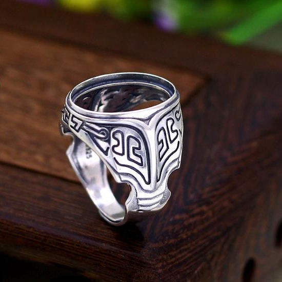 Sterling Silver 925 Engagement Wedding Men Ring Semi Mount 14x20mm Oval Cabochon for Gemstone Art Nouveau