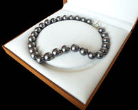 Rare Huge 12mm Genuine South Sea Black Shell Pearl Necklace Heart Clasp 18''