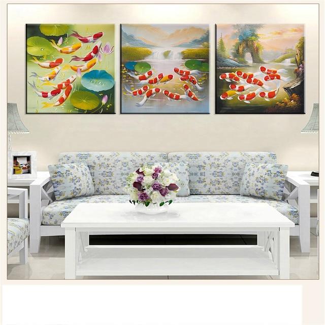 Выполненные Холст Картина Koi Fish лотоса золото и китайские Модульная картина маслом фэн-шуй стены Книги по искусству живопись для Гостиная 3 шт.
