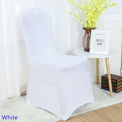 Lycra καρέκλα κάλυψη λευκό χρώμα επίπεδη μπροστά lycra spandex τέντωμα κάλυψη τραπεζαρία κάλυψη για τη διακόσμηση γάμου χονδρική φθηνή τιμή