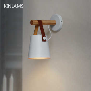 Wooden simple creative wall light led bedroom bedside decoration morden Nordic design living room corridor hotel E27 wall lamps - DISCOUNT ITEM  45% OFF All Category