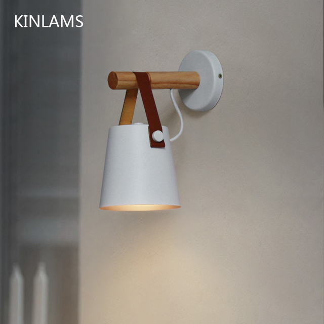 Wooden simple creative wall light led bedroom bedside decoration morden Nordic design living room corridor hotel E27 wall lamps