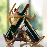 Vintage Buckhorn Sculpture Wine Holder Decorative Resin Antlers Bottle Rack Barware Ornament Art and Craft Present Accessories