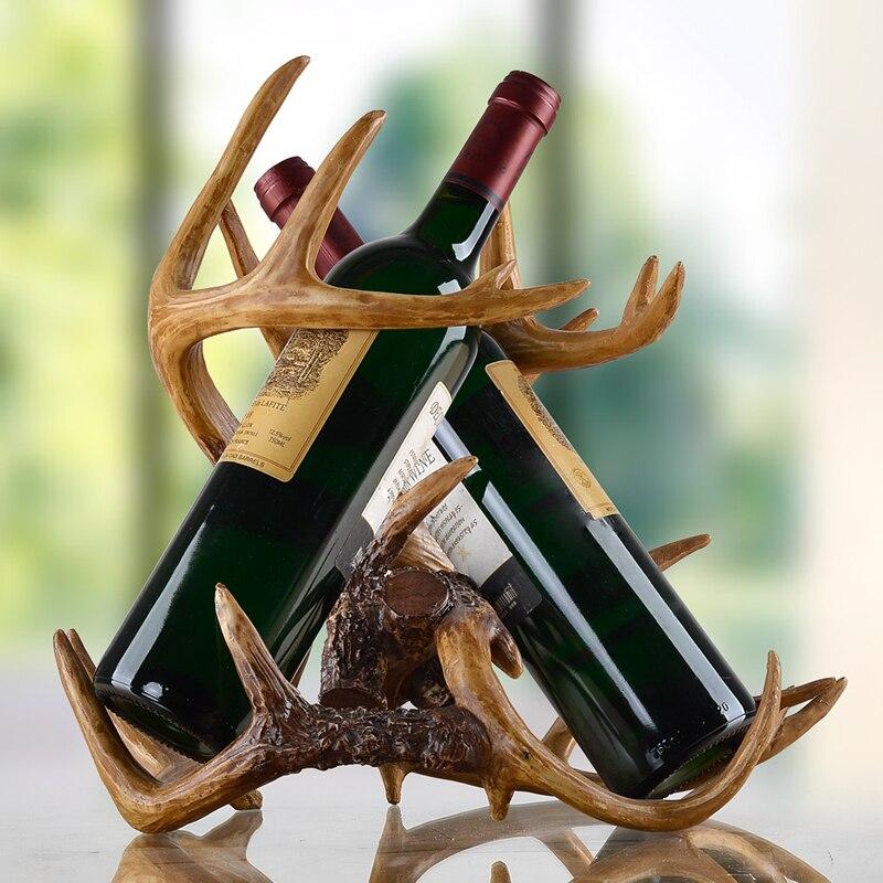 W stylu Vintage Buckhorn rzeźba pojemnik na wino żywica dekoracyjna poroża stojak na butelki Barware Ornament sztuki i rzemiosła obecne akcesoria w Stojaki na wino od Dom i ogród na  Grupa 1