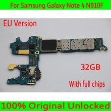С системой Android для samsung Galaxy Note 4 N910F материнская плата, 32 ГБ Оригинал разблокирован для Note 4 N910F материнская плата, хорошая работа