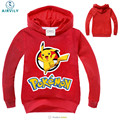 New Pokemon Go Cartoon Hooded Tees Boys Girls Clothes Children T-Shirts Boys Girls Long Sleeve Sweatshirt T Shirt Tops