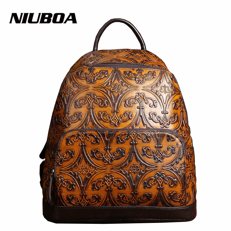 NIUBOA High Quality Genuine Leather Women Backpack Small Embossed Vintage School Backpack Fashion Shoulder Bags For Girls Gift high grade fashion unique design classic canva rugzak high quality drawstring backpack women shoulder bags small school backpack