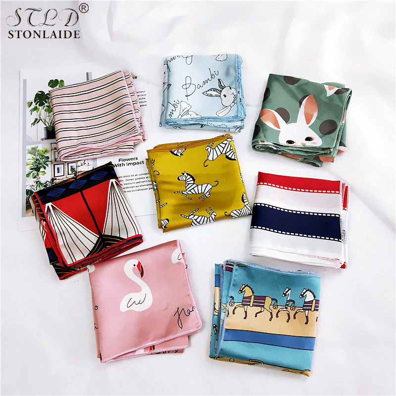 Design New Women Small Square Scarves Fashionable Striped Animal Print Satin Scarf For Ladies Bag Hair Band Neck Scarfs 50*50CM